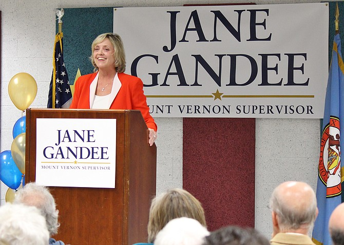 Businesswoman and activist Jane Gandee announces her intentions to replace Gerry Hyland (D) as Mount Vernon District supervisor.