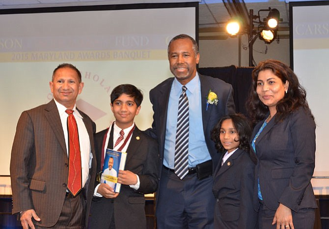 (From left) are Deepak Bhinge (Rohil's father); Rohil Bhinge, Carson Scholarship recipient; Dr. Ben Carson founder of Carson Scholarship, retired neurosurgeon; Samik Bhinge (Rohil's brother) and Meena Bhinge (Rohil's mother).