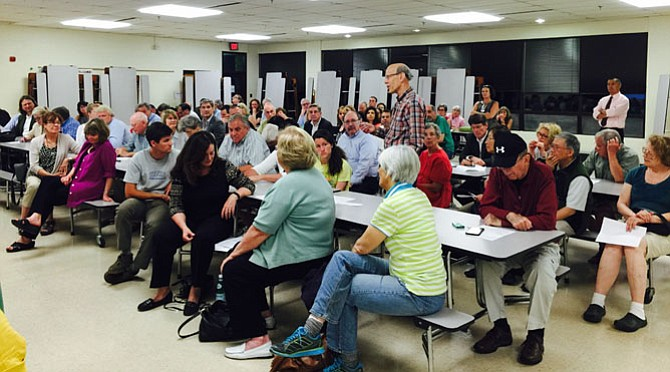 More than 100 people attended Great Falls Citizens Association meeting on Brooks Farm Tuesday, May 12. GFCA members voted to oppose the Brooks Farm development proposal.