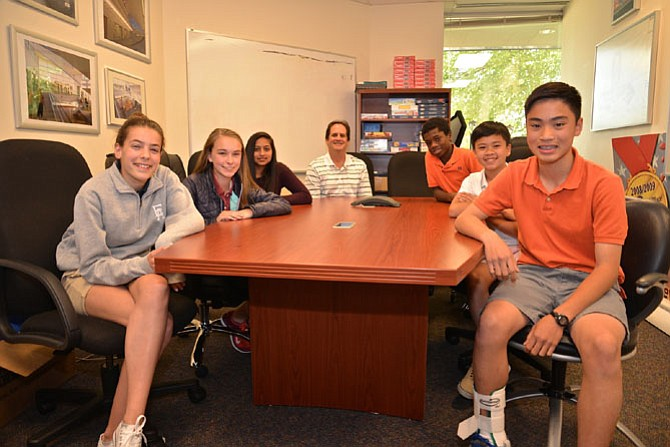 "From left -- Bryce Nabulsi, Anika Schipma, Ilina Gobburu, coach Marwan Nabulsi, Chris Huynh, Maxwell Jones and Chris Nguyen took time out of their busy schedules and their preparations to talk about their experiences as the Nysmith School's ""Know Brainer"" Team, readying for the ""Odyssey of the Mind"" World title. The team will compete against teams from all over the U.S. as well as 25 other countries."