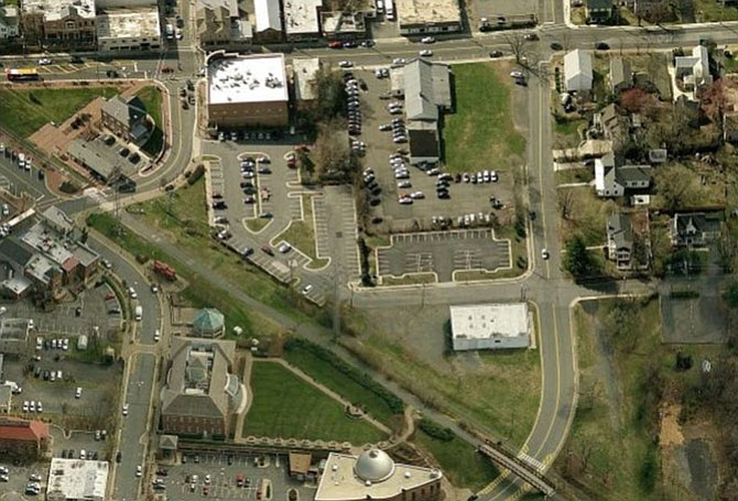 Aerial view of Downtown Herndon. Downtown Herndon is relatively small compared to the size of the town, and it's directly in the center of the town.