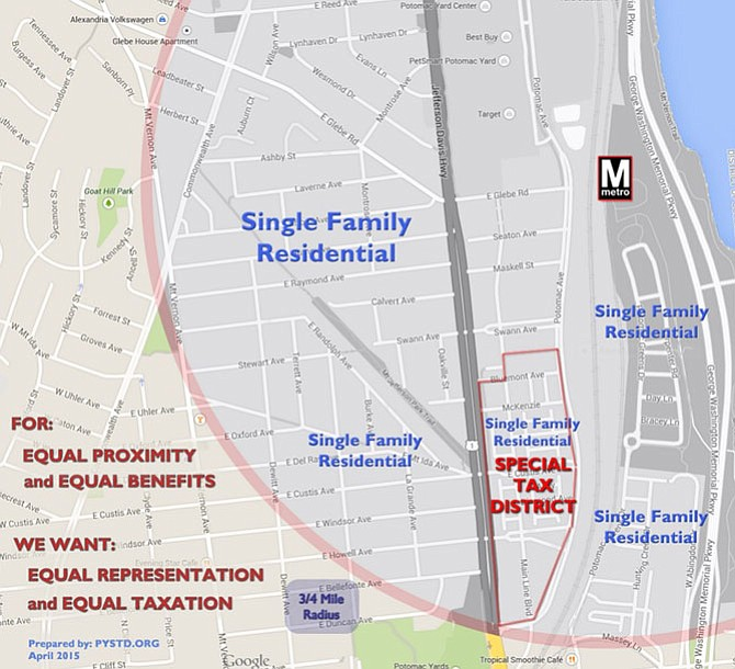 The  ¾-mile radius surrounding the Potomac Yard Metro and the Tier II Special Tax District established in 2011. This graphic was used by the Potomac Yard Special Tax District Committee for Tax Fairness' presentation to the City Council on May 15.