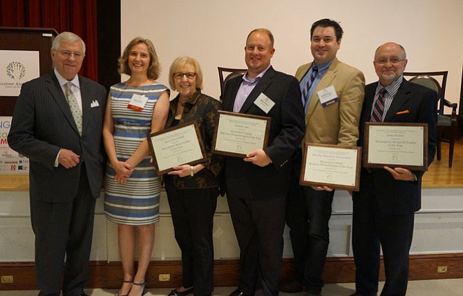 Business Philanthropy Summit co-chair Val Hawkins, left, is joined by the 2015 honorees following the May 6 awards breakfast at First Baptist Church. With Hawkins are Volunteer Alexandria executive director Marion Brunken, Kitty Porterfield (Board Leader of the Year), Carney Inc. representative Allen Price (Large Business Philanthropist of the Year), Del Ray Business Association president Bill Blackburn (Small Business Philanthropist of the Year), and ACT for Alexandria president John Porter (Nonprofit Leader of the Year).