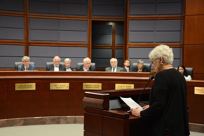 Mary Tracy of the Mount Vernon area of Alexandria speaks at the Fairfax County Ad Hoc Police Practices Review Commission on May 18. She recommended body cameras for officers, prohibiting arrest quotas, ensuring citizen complaints are heard and a citizen oversight body.