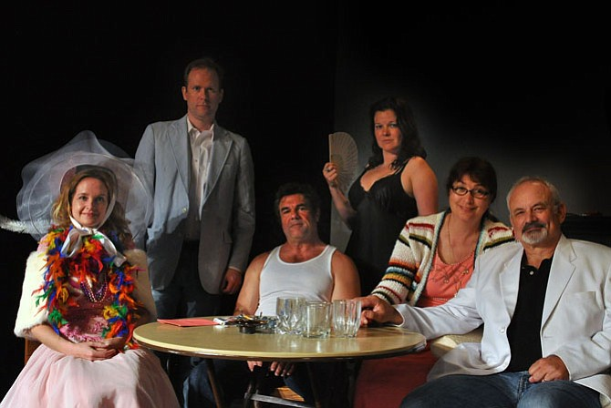 "The Cast of the Providence Players production of ""The Glass Mendacity"" -- From left, Elizabeth Keith, Ian Wade, Michael Donahue, Julie Janson, Beth Whitehead, Craig Geoffrion"