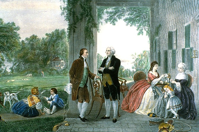 """Washington and Lafayette at Mount Vernon, 1784."""