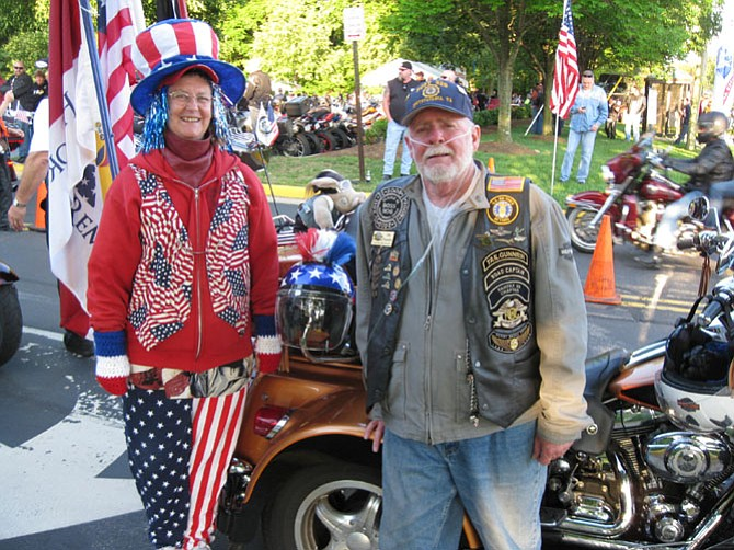 Eileen and Joe Pounder of Fredericksburg, members of the HOG Chapter of the Harley Owner's Group in Fairfax.