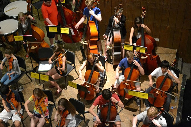 An overhead shot of rehearsals at McLean High School.