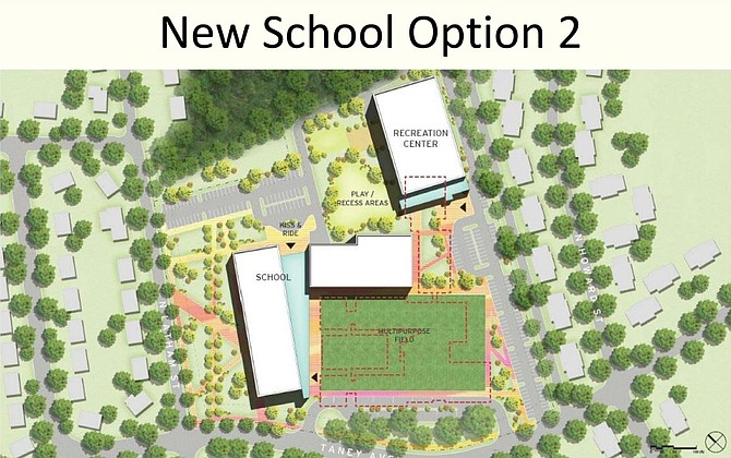 Staff and School Board favored Option 2, with two new buildings replacing the existing Patrick Henry Elementary School, outlined in red.