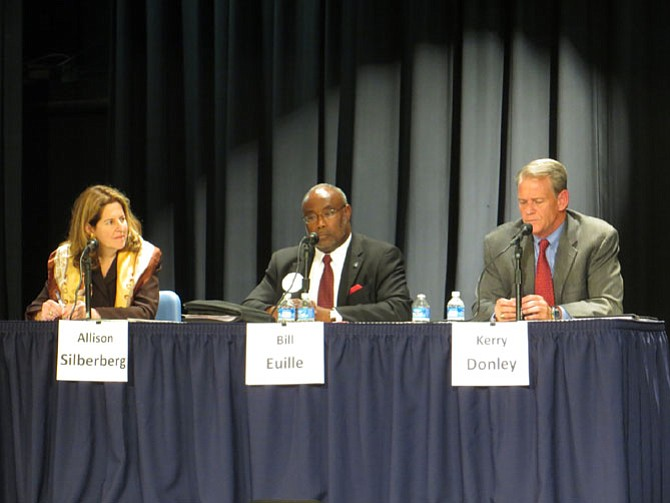Mayoral candidates Allison Silberberg, William Euille, and Kerry Donley
