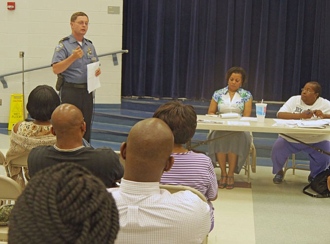 "Chief of Police Jay Farr addresses the Nauck Civic Association General meeting June 1 to ""put a face to a position,"" discuss local issues and to get community input."