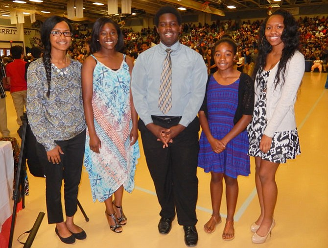 Scholarship winners are (from left) Malaz Namir, Chantilly High; Madeline Naa-Koshie Powell, Westfield High; Lawrence Wright, Centreville High; Morgan Carson, Chantilly High; and Arica Jackson, Westfield High. (Not pictured: Rachel Jacobs, Chantilly High).