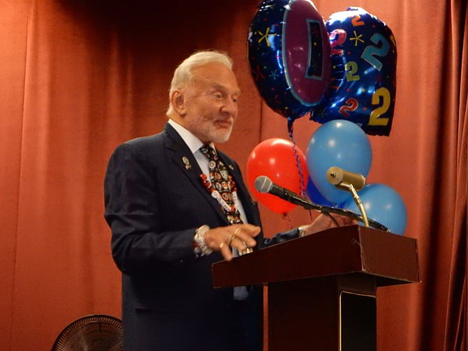 Dr. Buzz Aldrin speaking at Aldrin Elementary.