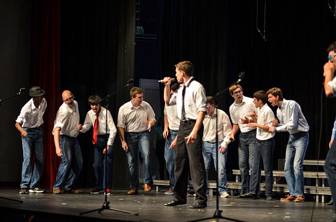 "The Herndon High all-male a cappella performance group The Bennett Street Boys sang ""Uptown Funk"" at the Pops Concert on Thursday."