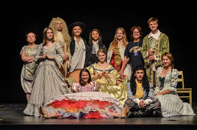 The Herndon cast for the June production of Molière's great comedy, Tartuffe. This play will be one of the final productions by Herndon drama teacher Zoë Dillard, who will be leaving for North Carolina. Dillard is in the back, second from the right.