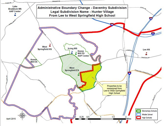 An administrative boundary change will cause the Daventry subdivision of Springfield to feed into West Springfield High School rather than Robert E Lee High School.