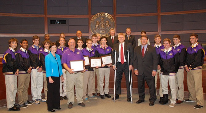 Board of Supervisors honored Lake Braddock Secondary School's boys cross country team on Tuesday, June 2.