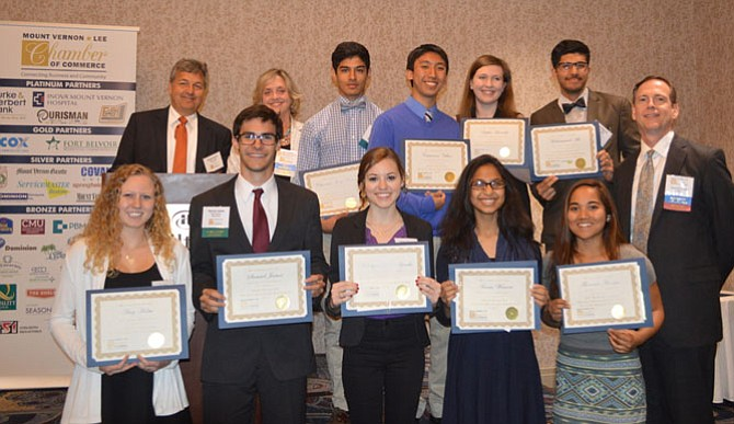 Scholarship recipients are congratulated by Chamber leadership. Back row: George Ksenics, Chamber president; Jane Gandee, Chamber vice president; Christian Ceron, West Potomac High School; Cameron Villar, Hayfield Secondary School; Sophie Horville, Edison High School; Mohammed Ali, Mount Vernon High School; front row: Amy Holm, West Potomac High School; Samuel James, West Potomac High School; Katelyn Anne Sparks, South County High School; Amna Wassem, Mount Vernon High School; Florence Marquez, Lee High School; and Sean O'Connell, Chamber chairman.