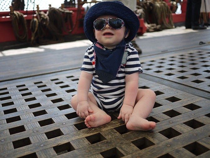 Lucas Krummenacher, from Alexandria, visited the ship dressed in the French tricoleur colors.