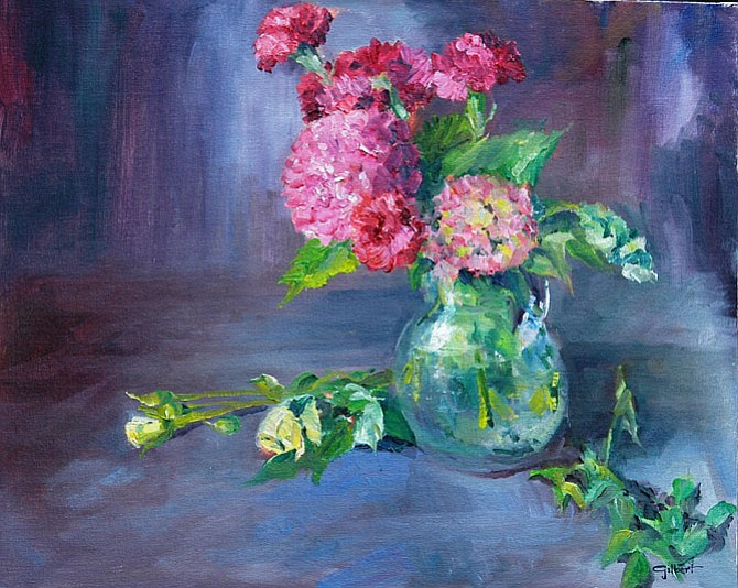 """View Robert Gilbert's exhibition """"Restful Pause"""" showcasing wine bottles, wine glasses, ceramic pots, fruits and vegetables from July 1-Aug. 1 at Katie's Coffee House, 760 Walker Road, Great Falls."""