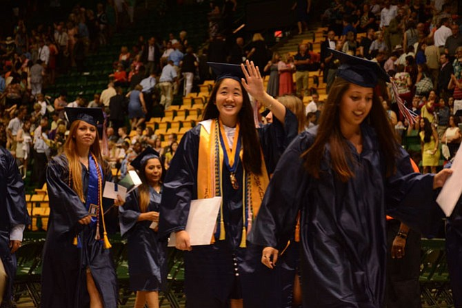 West Springfield graduates exit the Patriot Center to meet up with their families.