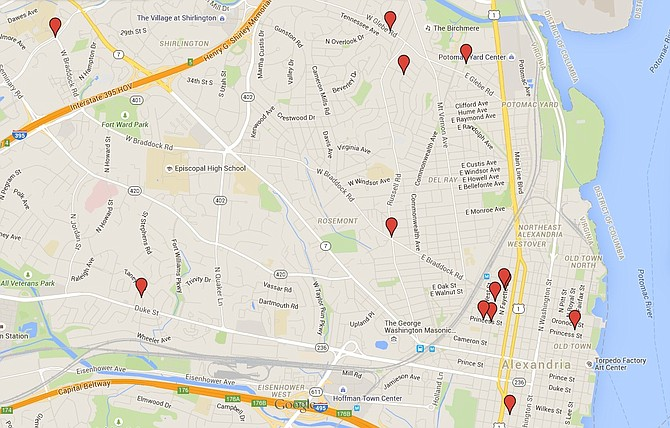Map of locations where gunfire has been reported in Alexandria