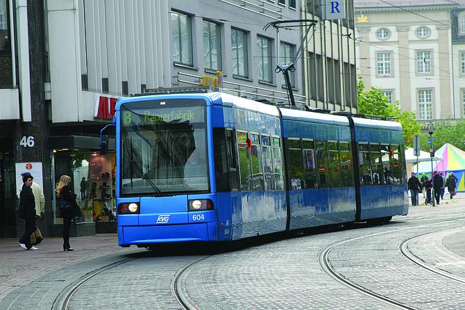 A trolley car in Kassel, Germany.