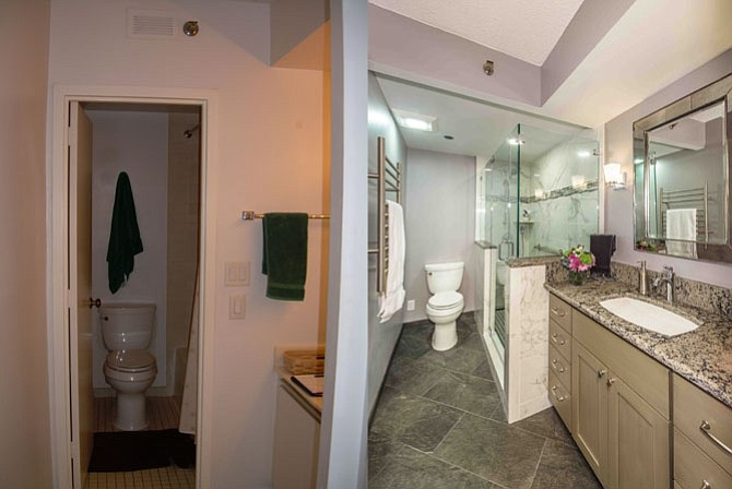 Recognizing that inches count in a tight footprint that can't be expanded, Sarah Wolf at Foster Remodeling Solutions gained just two inches of floor space by removing a wall between the vanity and the tub (left); the half-wall and frameless glass space divider that now surrounds the newly installed walk-in shower (right) offers a new open look.