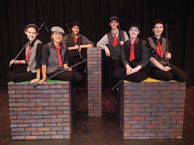 Playing chimney sweeps are (from left) Karin Hoelzl, Nora Winsler, Cammy Fischer, Connor Rudy, Morgan Perigard and Sarah Damers.