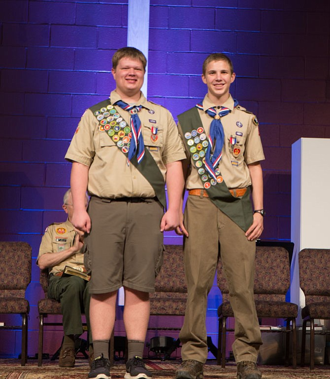 New Eagle Scouts Devlin McDonnell (left) and Colton Sorrells