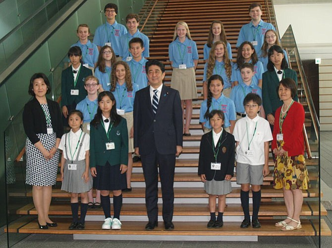Japanese Prime Minister Shinzo Abe with Great Falls Elementary School students and teachers.