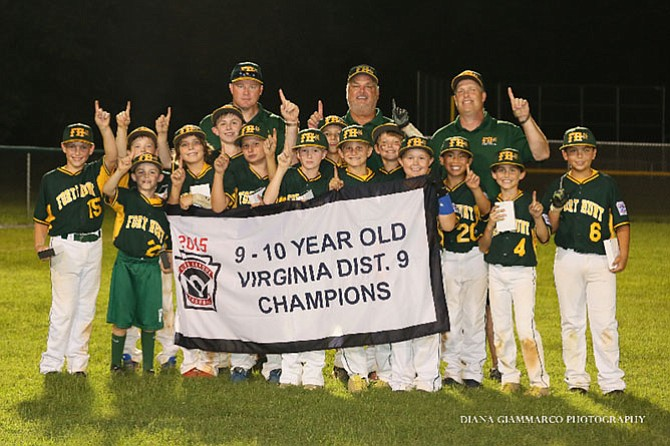 District 9 champions: Head Coach Terry Trenchard's 10-year-olds Fort Hunt all-star team.