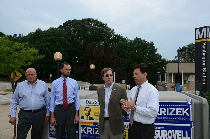 From left: Supervisor Gerry Hyland (D), candidate for Mount Vernon supervisor Dan Storck, candidate for 44th District delegate Paul Krizek and candidate for 36th District senate seat and Del. Scott Surovell (D-44) are in favor of speeding up the timeline to bring bus rapid transit and an extension of the Metro Yellow Line in the Route 1 corridor.