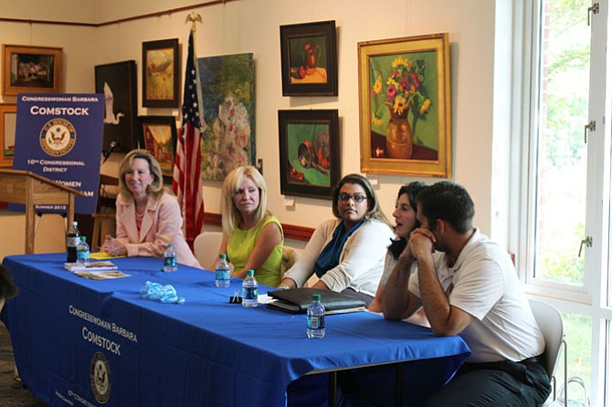 U.S. Rep. Barbara Comstock (R-10), Dr. Ludy Green, Deepa Patel, Beth Saunders, and Det. Bill Woolf spoke to Comstock's Young Women Leadership Program at Great Falls Library on July 20 about human trafficking.