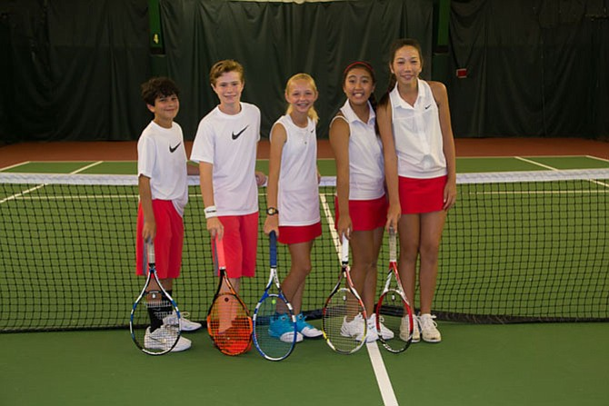 Shawn Lisann (11), Anthony Guerrera (12), Elena Turner (12), Jennifer Ha (11), Dana Edson (12) at practice.