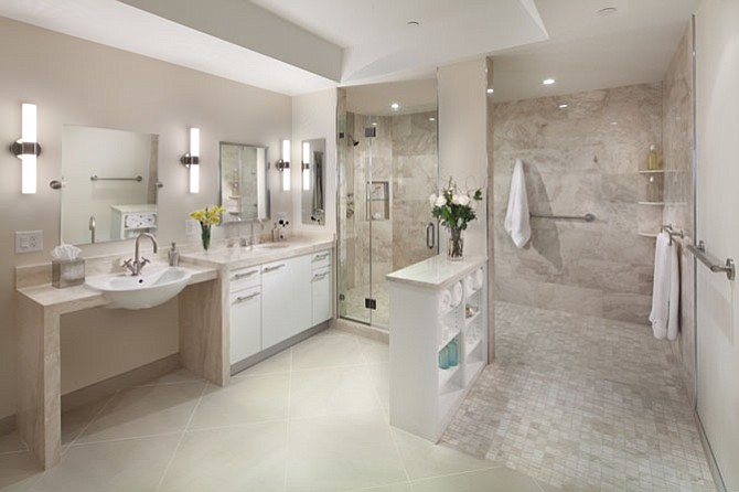 judith and curtis brand chose honed marble in neutral tones for their bathroom which was - Wheelchair Accessible Bathroom Design