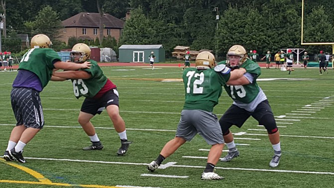 Rising senior tackle Ben Culmer (63) and rising junior guard Tyler Howerton (75) compose the right side of the Langley offensive line.