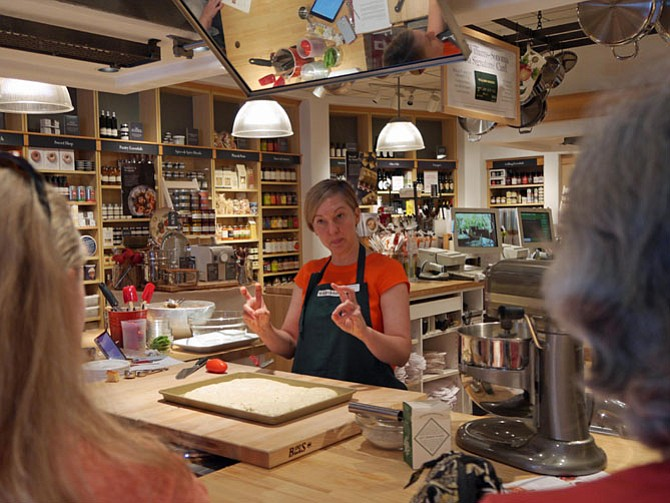 """If the dough pulls back, it doesn't want to be touched so set it aside for a while,"" said Lisa Parkinson, who is teaching a technique class at Williams-Sonoma on making focaccia."
