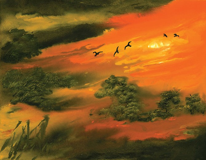 "Charlene Fuhrman-Schulz's oriental brush painting, ""Flight of Imagination,"" capturing a landscape in classical brush technique, is on display at the ""Paint and Beyond"" exhibit at U.S. Geological Survey in Reston through Aug. 28."