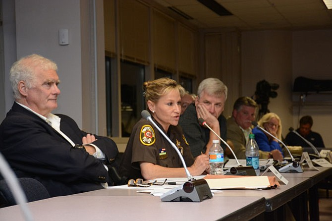 Fairfax County Sheriff Stacey Kincaid (center) attended the Aug. 17 Ad Hoc police policies review commission and joined the conversation regarding mental health and Crisis Intervention Team training.