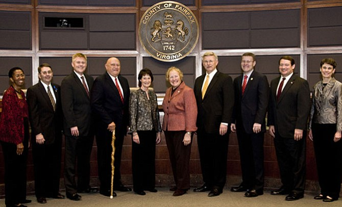 Current Board of Supervisors. From left: Catherine M. Hudgins (D-Hunter Mill), Michael R. Frey (R-Sully), John C. Cook (R-Braddock), Gerald W. Hyland (D-Mount Vernon), Sharon Bulova (Chairman, At-Large), Penelope A. Gross (D-Mason, Vice Chairman), John W. Foust (D-Dranesville), Jeffrey C. McKay (D-Lee), Pat Herrity (Springfield) and Linda Q. Smyth (D-Providence).