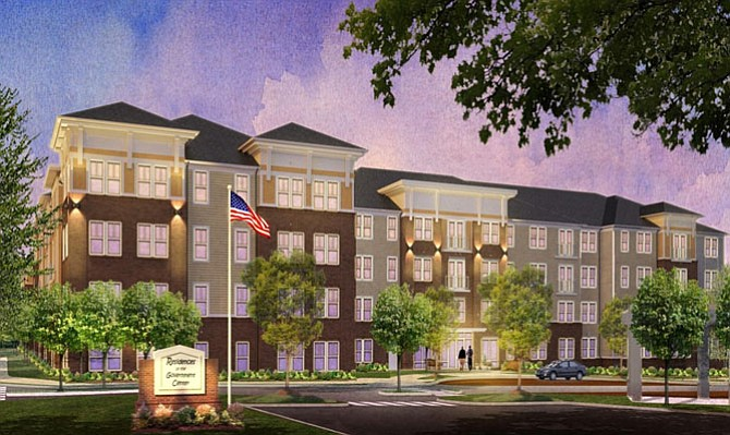 Artist's rendition of the Residences at the Government Center. It's an apartment complex that'll provide homes for firefighters, police, teachers and other workers who currently can't afford to live in Fairfax County.
