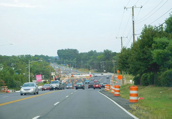 A bird's-eye view of the Route 29 construction area, just west of Union Mill Road.