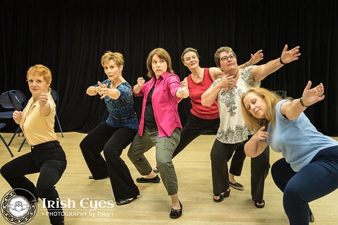 Sam David in her role as Chris leads the Women's Institute ladies in a T'ai Chi class (From left -- Sam David, Liz Weber, Jennifer Greene, Kathryn Johnston, Shayne Gardner, and Diane Sams.