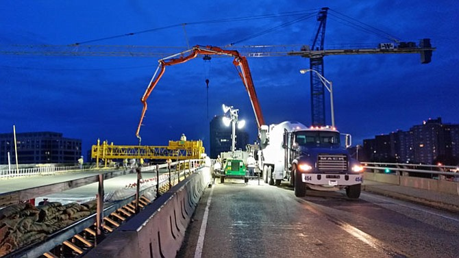 In the overnight hours, crews pour the deck for the Seminary Road bridge over I-395.