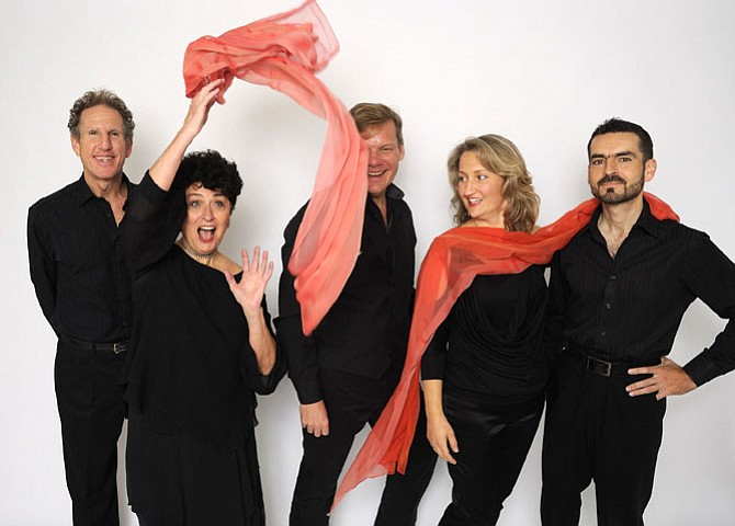 QuinTango in performance. From left: Jon Nazdin, Joan Singer, Jeffery Watson, Eva Cappelletti-Chao and Lukasz Szyrner.