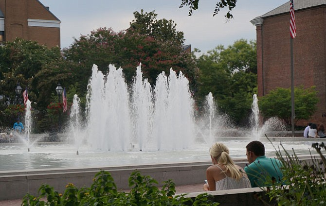 The water fountain at Market Square is a popular destination for relaxing, people watching and the Saturday morning Farmers Market.