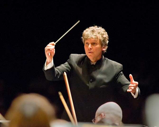 Christopher Zimmerman conducting the Fairfax Symphony Orchestra.