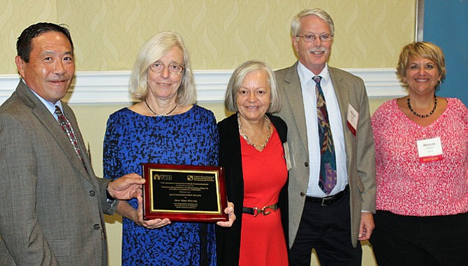 From left: Michael Wong, Board of Directors of Virginia Coalition to End Homelessness; Pamela L. Michell, Executive Director of New Hope Housing; Alice Tousignant, Interim Executive Director of Virginia Coalition to End Homelessness; Michael Shank, Virginia Department of Behavioral Health and Developmental Services; Rhonda Thiessen, Virginia Department of Behavioral Health and Developmental Services.