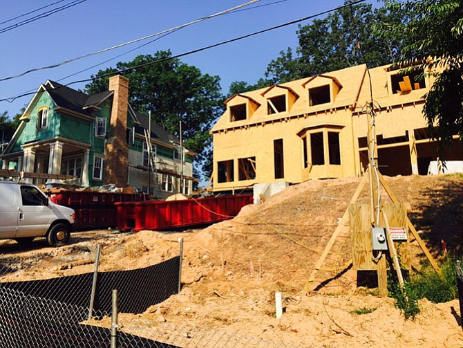 Infill development on Franklin Lane in McLean. Many locals chafed at the loss of most of the mature trees on the lots along with the older homes to make way for much larger homes.